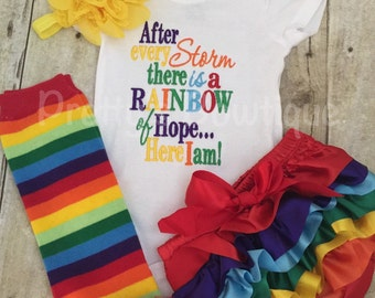 After every storm there is a rainbow of hope... Here i am! Bodysuit or shirt and matching ruffle leg-warmers, diaper cover and headband