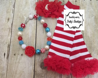Thing 1 and Thing 2  Accessories Set with Leg Warmers, Baby Headband & Chunky Bauble Necklace
