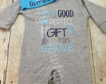 Baby Boy Coming Home Outfit -- Every good and perfect gift comes from above James 1:17 Romper & Hat with Embroidered Name