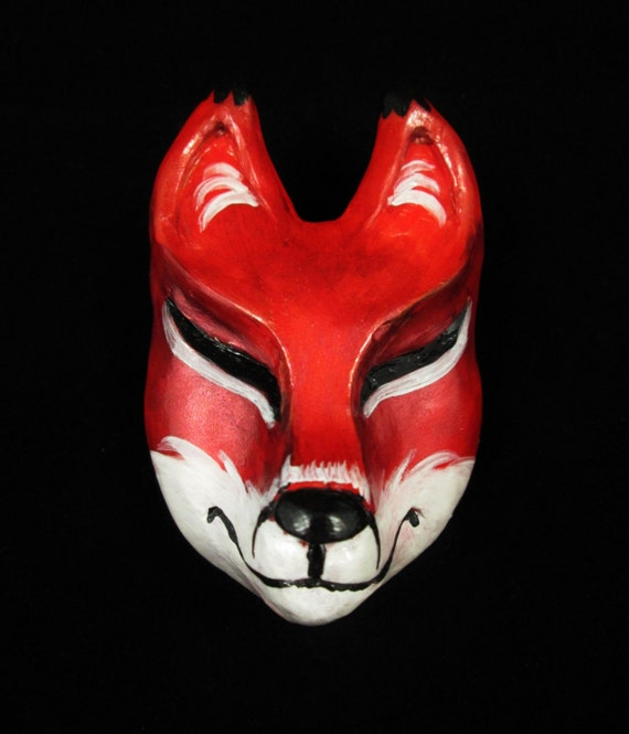 Crimson Red Inari Kitsune Fox Mask Hairclip