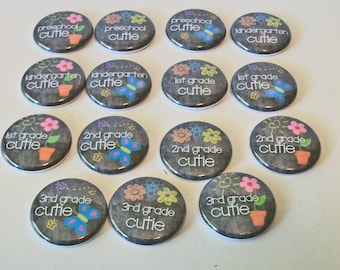 Set of 15 Chalkboard Style Back To School Cuties 1 Inch Flat Back Embellishments Buttons Flair Great for Bow Making
