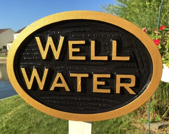 Carved Well Water notice Plaque- Irrigation Sign