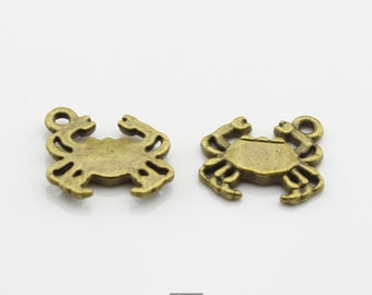 15pcs 14x15mm Antique Bronze Crab Charm Pendant
