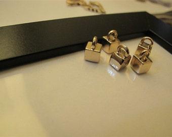 1pc 6mm Light golden Lock head three-dimensional pendants