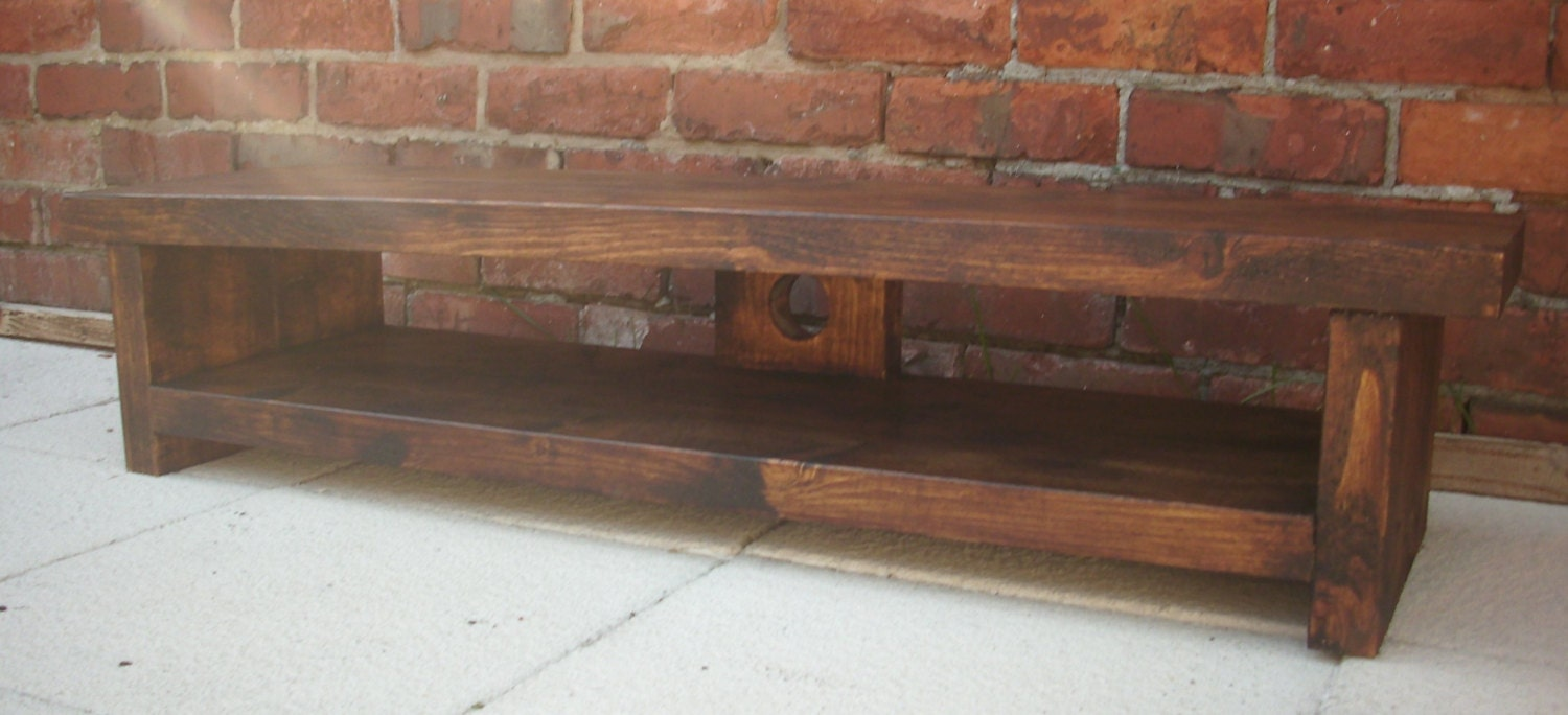 Very Low Rustic Pine Plasma Lcd Low Tv Stand Unit Table For