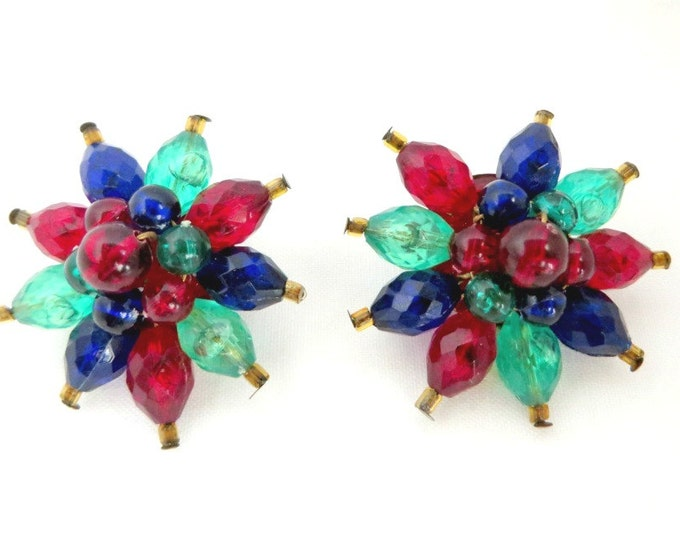 Vintage Tri-Color Lucite Earrings, West Germany Red Blue Green Flower Clip-on Earrings