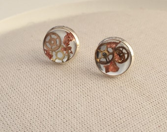 Steampunk Earrings - Copper Leaf Stud Alternative Jewellery