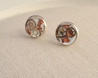 STERLING SILVER Steampunk Earrings - Copper Leaf Stud Alternative Jewellery
