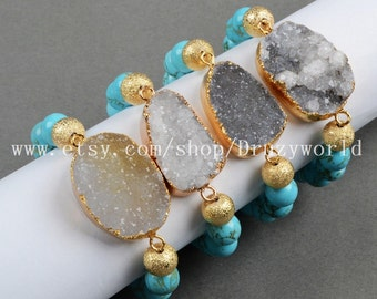 Gold Plated Natural Agate Druzy Geode Bracelet With 10mm Blue Howlite Turquoise Beaded Bracelet Electroplated Natural Druzy Bracelet G0297