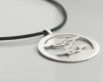 Handmade Silver Bonsai Sunset Pendant. Japanese pendant.