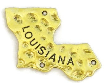 5 State Gold Louisiana Charm Pendant 29x36mm by TIJC SP1102