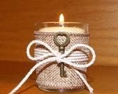Rustic Wedding Light / Burlap Wedding Votive Candle Holder / Burlap Wedding Decor / Skeleton Key Wedding Decoration / Country Wedding /6