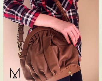 "Handbag purse vintage ""Vintagefolds"" camel lambskin leather sale!"