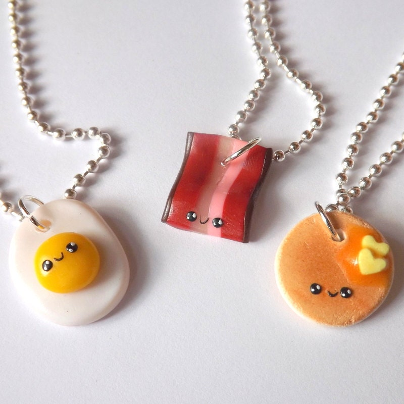 three best friend necklaces bacon egg by pitterpatterpolymer