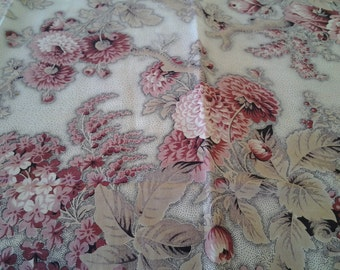 Antique French Cotton Fabric - Foliage and Flowers, pillows, runners, sachets
