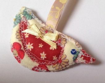Funky little fabric bird sewn keychain. By artist Nina Martell.