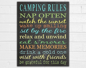 Camping Rules Print - Camping Sign - Vintage Camper Decor - Camper Art - RV Sign - Outdoor Decor - Camping Party - Camping Gifts