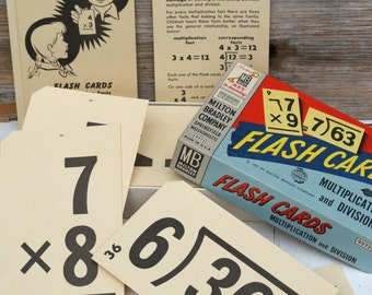 Vintage 1950s Math Flash Cards
