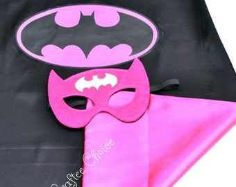 Batgirl Cape and mask set/ superhero/ childrens cape/ costume/party favor/kids/ stocking stuffer