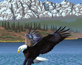 Bald Eagle Diving - Ketchikan, Alaska (Art Prints available in multiple sizes)