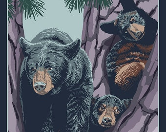 Downieville, California - Black Bear and Cubs (Art Prints available in multiple sizes)