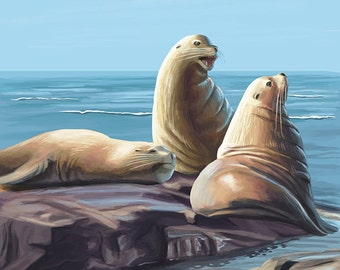 Sea Lions (Art Prints available in multiple sizes)