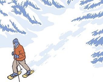 Snowshoer Stylized (Art Prints available in multiple sizes)