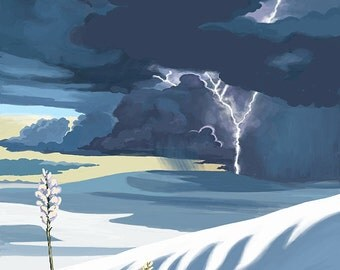 White Sands National Monument, New Mexico - Lightning Storm (Art Prints available in multiple sizes)