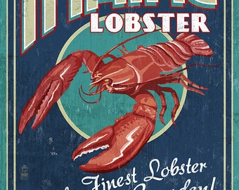 Camden, Maine - Lobster Vintage Sign (Art Prints available in multiple sizes)