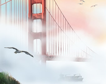 Golden Gate Bridge in Fog - San Francisco, California (Art Prints available in multiple sizes)