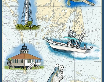Boca Grande, Florida - Nautical Chart (Art Prints available in multiple sizes)