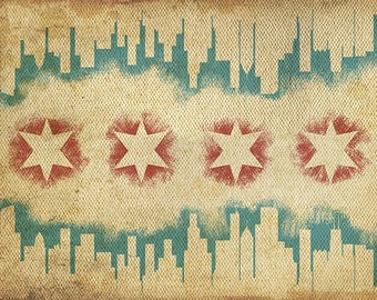 Chicago, Illinois - Flag and Skyline Tapestry (Art Prints available in multiple sizes)