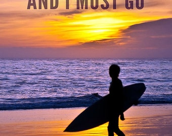 California - The Waves are Calling - Surfer and Sunset (Art Prints available in multiple sizes)