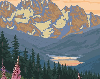 Banff, Canada - Bear and Spring Flowers (Art Prints available in multiple sizes)
