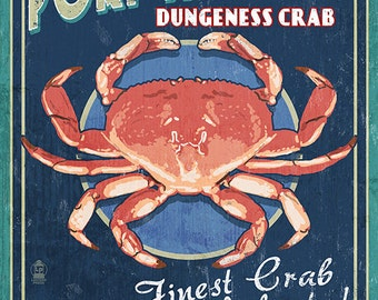 Port Angeles, Washington - Dungeness Crab Vintage Sign (Art Prints available in multiple sizes)