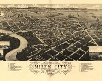 Miles City, MT Panoramic Map - 1883 (Art Prints available in multiple sizes)