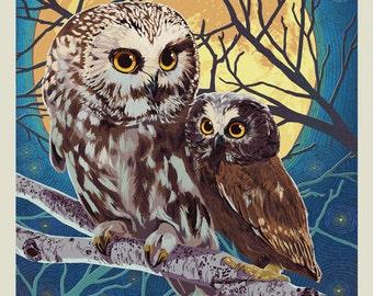 Joseph, Oregon - Owl and Owlet - Letterpress (Art Prints available in multiple sizes)