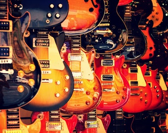 Electric Guitars on Wall (Art Prints available in multiple sizes)