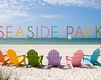 Seaside Park, New Jersey - Colorful Beach Chairs (Art Prints available in multiple sizes)