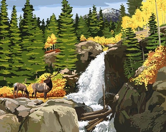 Rocky Mountain National Park, Colorado - Elk and Waterfall (Art Prints available in multiple sizes)