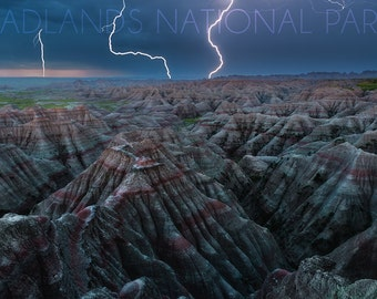 Badlands National Park, South Dakota - Lightning Storm (Art Prints available in multiple sizes)