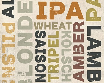 Beer Typography - Types of Beer (Art Prints available in multiple sizes)