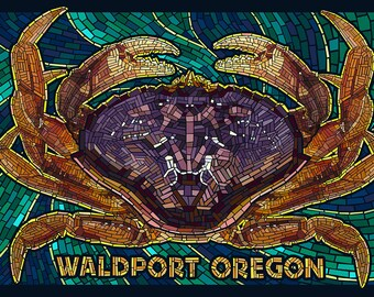 Waldport, Oregon - Dungeness Crab Mosaic (Art Prints available in multiple sizes)
