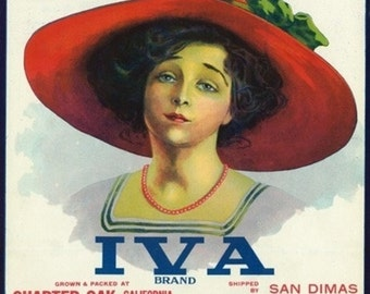 Charter Oak, California - Iva Brand Citrus Label (Art Prints available in multiple sizes)