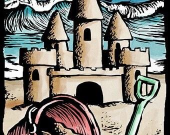 Santa Cruz, California - Sand Castle - Scratchboard (Art Prints available in multiple sizes)