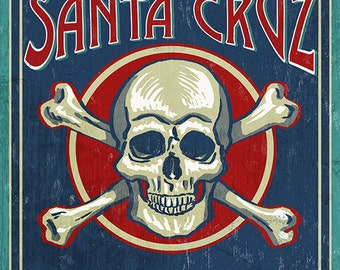 Santa Cruz, California - Skull and Crossbones (Art Prints available in multiple sizes)