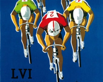 Bicycle Race Promotion Vintage Poster (Art Prints available in multiple sizes)