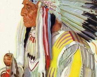 Portrait of Wades-in-the-Water, a Blackfeet Chieftain (Art Prints available in multiple sizes)