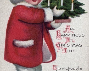 All Happiness at Christmas Tide - Child Holding a Tree (Art Prints available in multiple sizes)