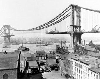 Manhattan Bridge under Construction NYC Photo (Art Prints available in multiple sizes)